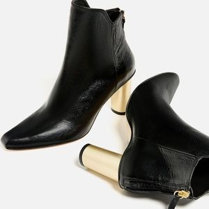 Zara black booties with gold heels New in Box